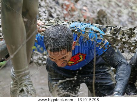 STOCKHOLM SWEDEN - MAY 14 2016: Man covered with mud crawling under a camouflage net in the obstacle race Tough Viking Event in Sweden April 14 2016