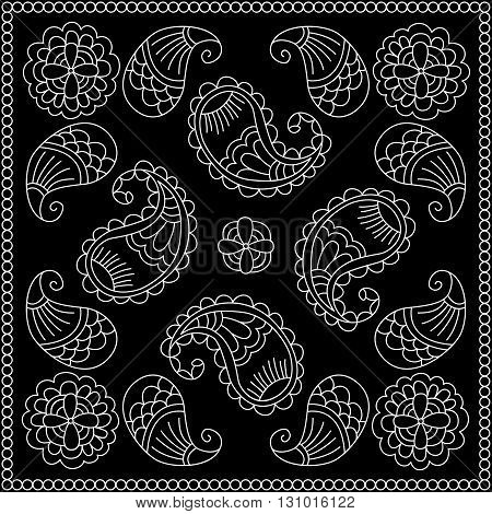 Black And White Abstract Bandana Print With  Element Henna Style.   Kerchief Square Pattern Design.