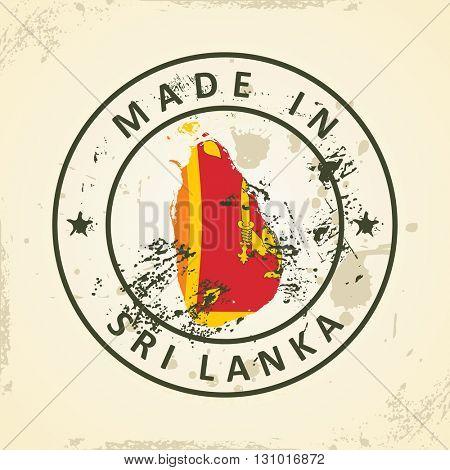 Grunge stamp with map flag of Sri Lanka - vector illustration