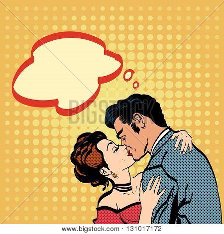 Lovers kissing man kisses woman romantic hug retro style pop art vector