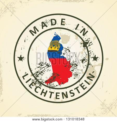Grunge stamp with map flag of Liechtenstein - vector illustration