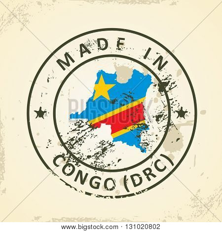 Grunge stamp with map flag of Congo (DRC) - vector illustration