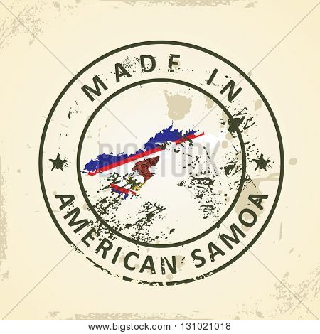 Grunge stamp with map flag of American Samoa - vector illustration