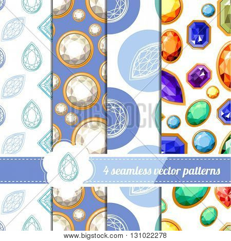 Collection of seamless patterns with diamonds and different gems. White and blue color. Endless texture for your design, announcements, greeting cards, posters, advertisement.