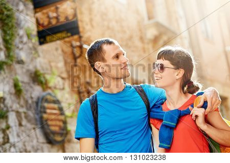 couple tourists walking in the old town. Couple in love, have Honeymoon on Crete, Greece