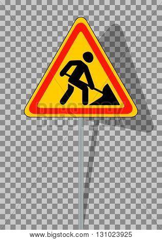 Road signs. Roadworks on transparent background. Vector Illustration. EPS10