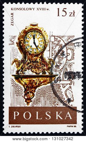 POLAND - CIRCA 1988: a stamp printed in Poland shows Louis XV Rococo Bracket Clock 18th Century Clock in the Museum of Artistic and Precision Handicrafts Warsaw circa 1988