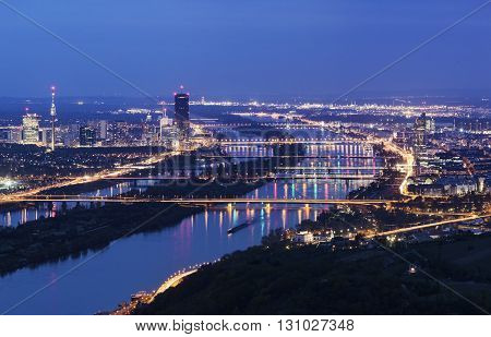 Vienna skyline and Danube River. Vienna Austria.