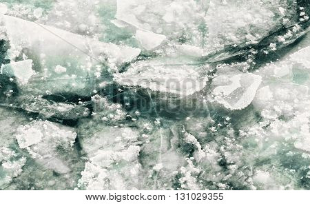 Winter beautiful ice floes in deep water