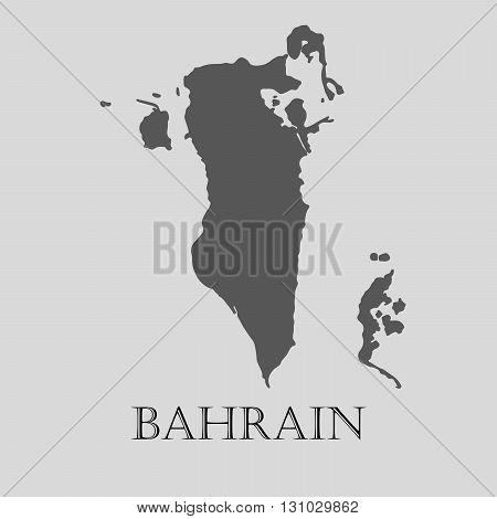 Black Bahrain map on light grey background. Black Bahrain map - vector illustration.