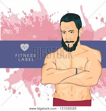 Personal fitness trainers in gym. Smiling young man sport instructors. Promotional vector illustration of sport club, fitness center, individual training.