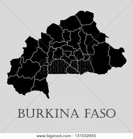 Black Burkina Faso map on light grey background. Black Burkina Faso map - vector illustration.