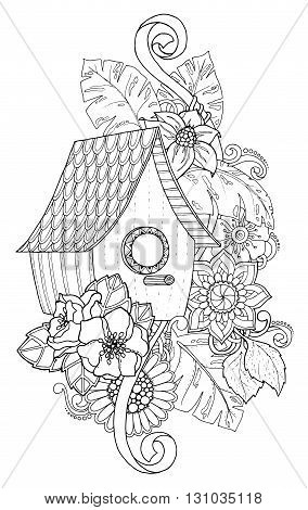 Black and white wood nesting box. Hand drawn outline nesting box decorated with floral ornament. Zentangle inspired pattern for coloring book pages for adults and kids tattoo poster. Boho style.