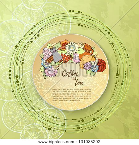 Breakfast theme. Pattern with coffee cezve sweets and flowers. Tea and coffee hand drawn pattern. Background for menu site cafe restaurant teahouse.