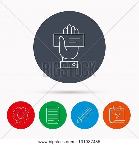 Cheque icon. Giving hand sign. Paying check in palm symbol. Calendar, cogwheel, document file and pencil icons.