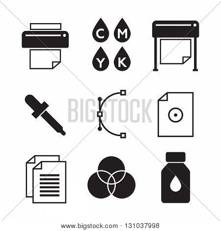 Vector set of printing icons. Palette and printer, curve bezier eps10