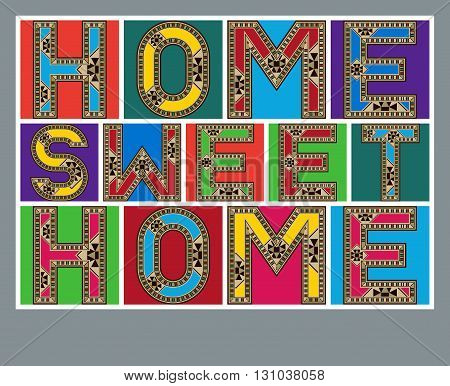 Colorful Home Sweet Home Decorative Block Letters