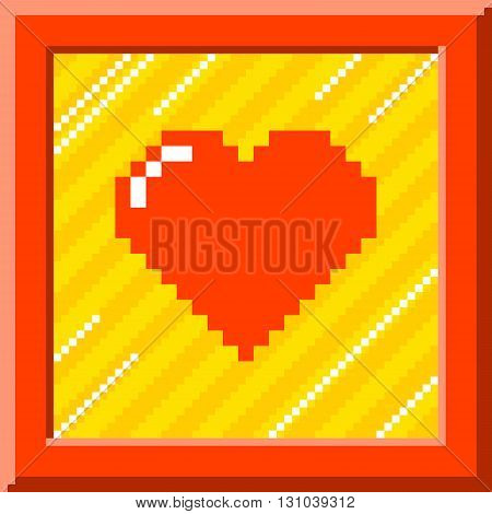 Red pixel heart surrounded by a red border against a stripy background. The heart is formed out of individual squares and is left for easy editing.