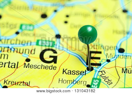 Kassel pinned on a map of Germany
