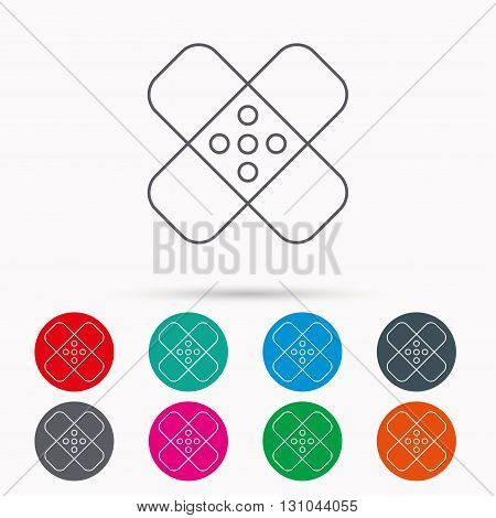 Medical plaster icon. Injury fix sign. Linear icons in circles on white background.