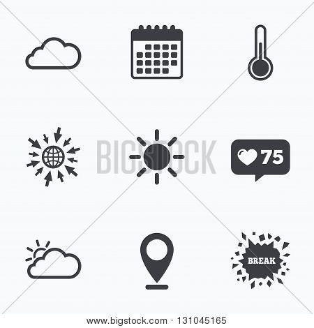 Calendar, like counter and go to web icons. Weather icons. Cloud and sun signs. Thermometer temperature symbol. Location pointer.