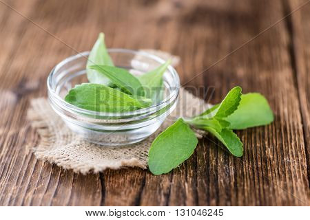 Wooden Table With Stevia Leaves (selective Focus)