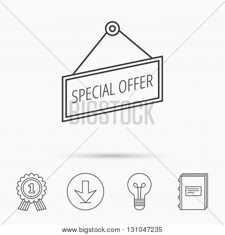 Special offer icon. Advertising banner tag sign. Download arrow, lamp, learn book and award medal icons.