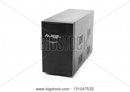 uninterruptible power supply (ups) reserve battery, isolated on white