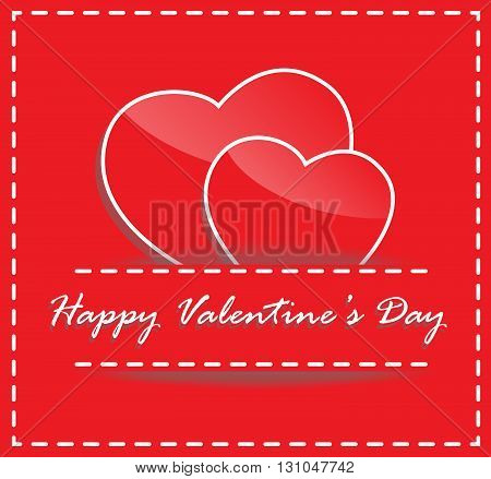 happy valentine day red heart in red clothes pocket card