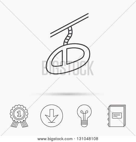 Teleferic icon. Telpher cable-railway sign. Download arrow, lamp, learn book and award medal icons.