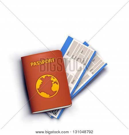 illustration of realistic passport red color with two tickets