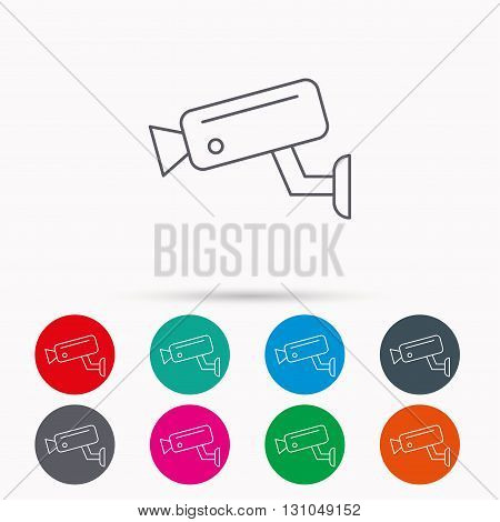Video monitoring icon. Camera cctv sign. Linear icons in circles on white background. poster