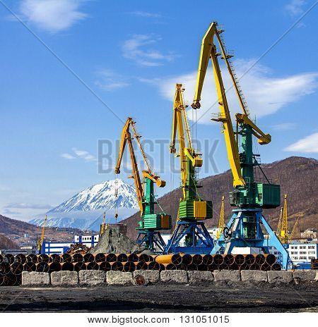 crane at the scrapyard in the seaport in Kamchatka