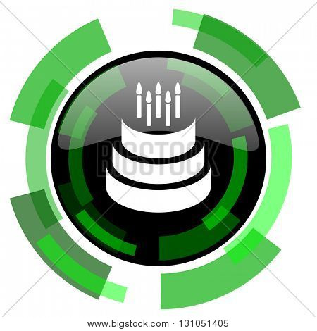 cake icon, green modern design glossy round button, web and mobile app design illustration