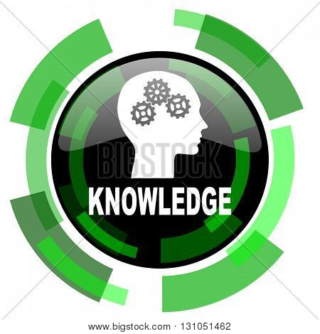 knowledge icon, green modern design glossy round button, web and mobile app design illustration