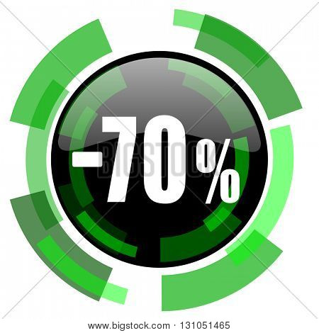 70 percent sale retail icon, green modern design glossy round button, web and mobile app design illustration