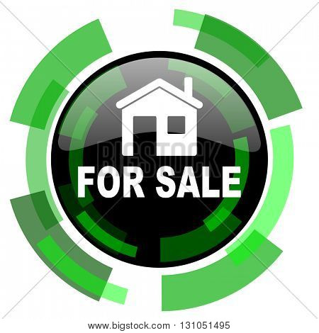 for sale icon, green modern design glossy round button, web and mobile app design illustration
