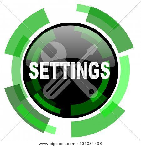 settings icon, green modern design glossy round button, web and mobile app design illustration