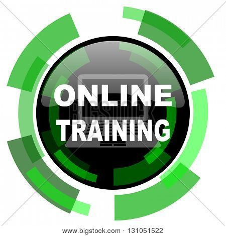 online training icon, green modern design glossy round button, web and mobile app design illustration