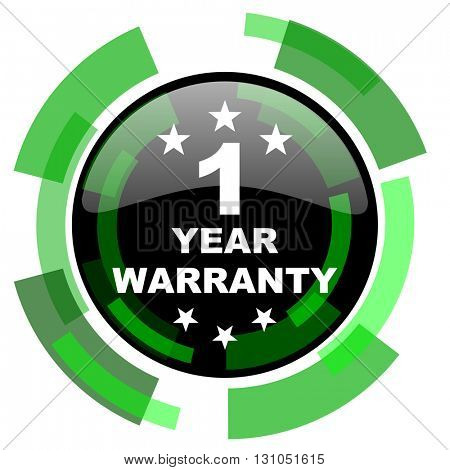 warranty guarantee 1 year icon, green modern design glossy round button, web and mobile app design illustration