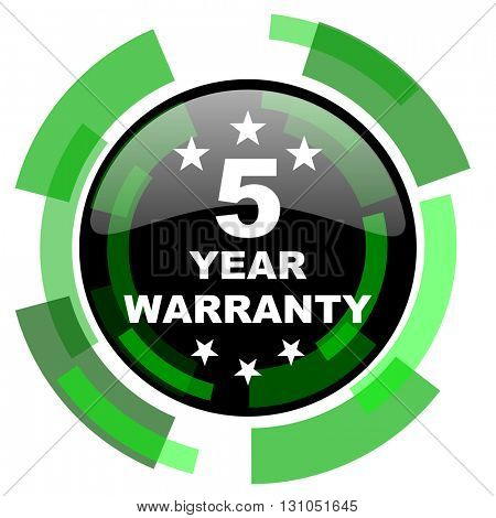 warranty guarantee 5 year icon, green modern design glossy round button, web and mobile app design illustration
