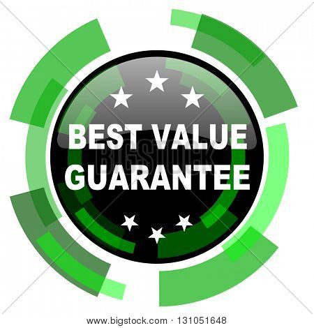 best value guarantee icon, green modern design glossy round button, web and mobile app design illustration