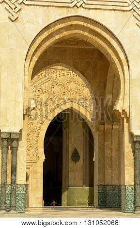 Morocco. Detail of Hassan II Mosque in Casablanca