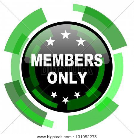 members only icon, green modern design glossy round button, web and mobile app design illustration