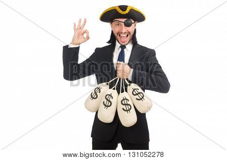 Pirate businessman holding money bags isolated on white