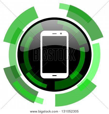 smartphone icon, green modern design glossy round button, web and mobile app design illustration