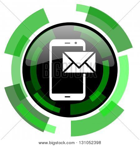mail icon, green modern design glossy round button, web and mobile app design illustration