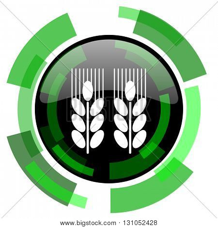 agricultural icon, green modern design glossy round button, web and mobile app design illustration