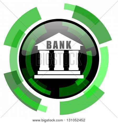 bank icon, green modern design glossy round button, web and mobile app design illustration