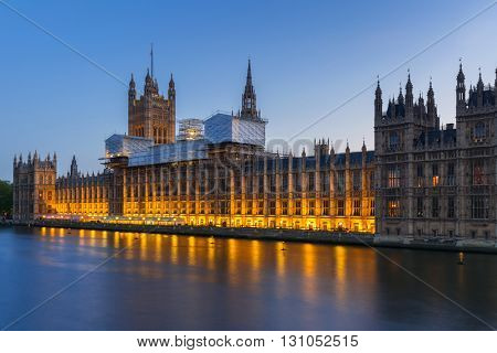 Palace of Westminster in London at night, UK